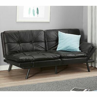 Memory Foam Full Size Futon w/ Foldable Armrests, Black Faux Leather Sofa -