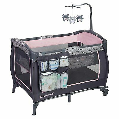 Pack and Play for Baby Girl with Bassinet and Travel Bag