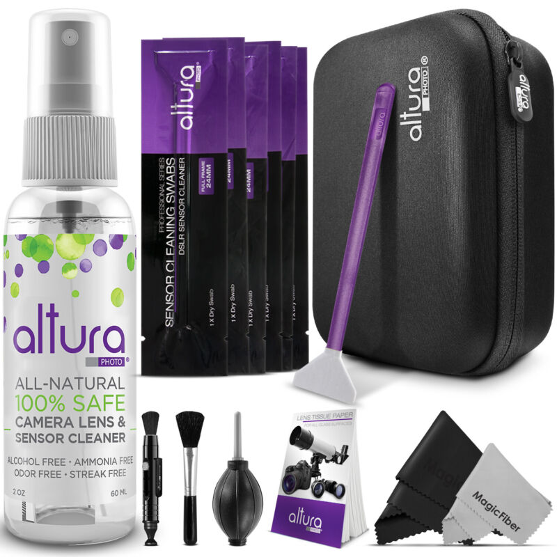 Camera, Lens, LCD & Sensor Cleaning Kit for Full Frame CCD/CMOS by Altura Photo