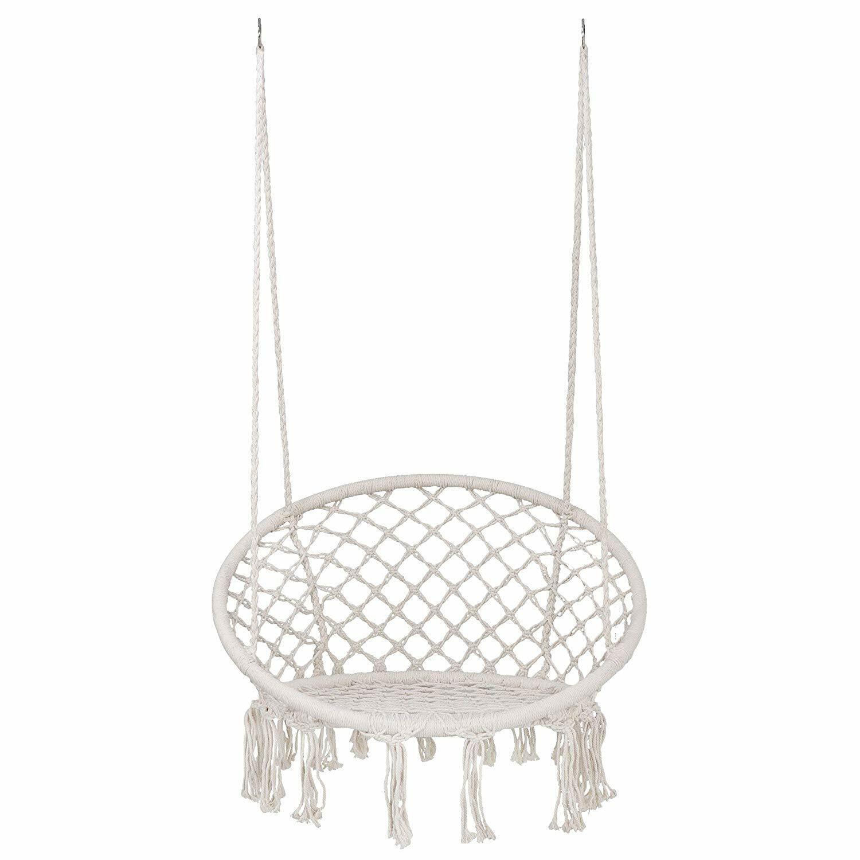Hammock Cotton Swing Camping Hanging Rope Chair Wooden Beige Outdoor Patio Hammocks