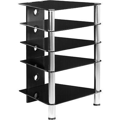 Tv-rack (STILISTA TV Rack Schrank Ständer Möbel Regal HiFi Audio Glas Schwarzglas)