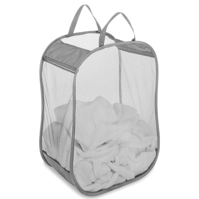 Pop-Up Laundry Hamper Foldable Laundry Bag Basket Mesh Hampe