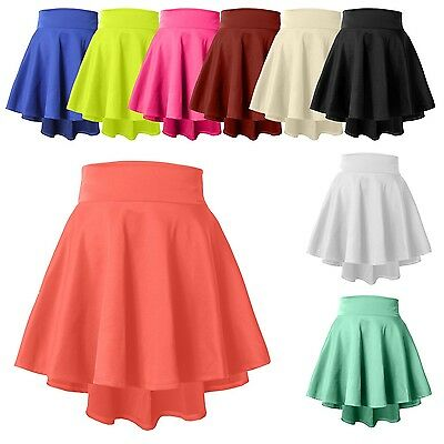Womens High Waisted Stretch Flared Pleated Mini Skater Skirt Longer Back NEWSK12