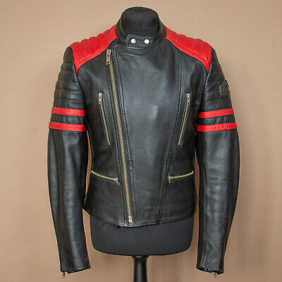 Vintage Germot Black Red Leather Biker Jacket Motorcycle Men's Medium 38 40