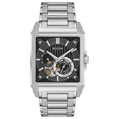 Bulova Men's 96A194 Automatic Open Heart Window Black Dial Bracelet 35mm Watch