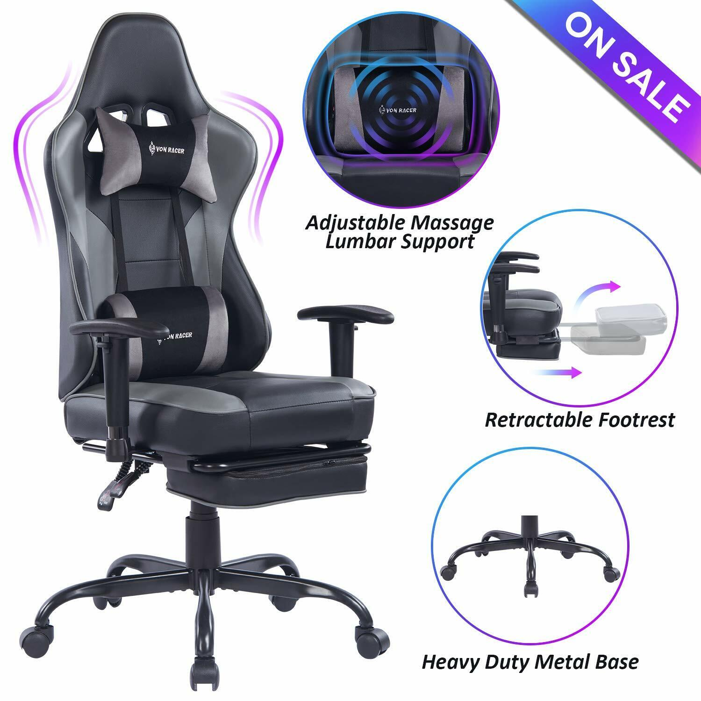 VON RACER Massage Gaming Chair,High Back Racing Computer Des
