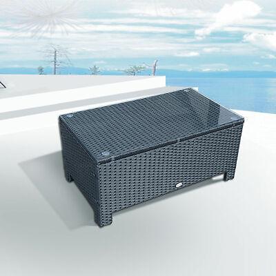 Rattan Wicker Coffee Table Patio Furniture w/ Glass Top Black