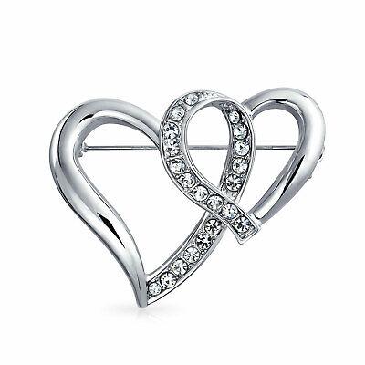 Fashion Large Crystal Open Ribbon Double Heart Scarf Brooch Pin Open Heart Fashion Pin