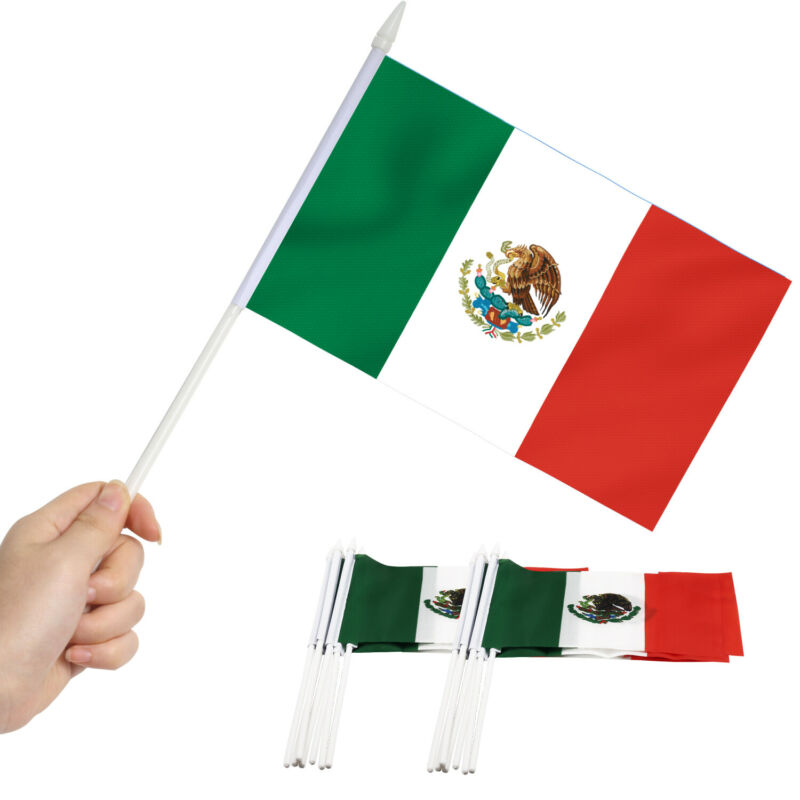 Anley Mexico Mini Flag 12 Pack - Hand Held Small Miniature Mexican Flags 12PCS