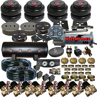 Air Suspension Kit,Bags,Valves,Tank,Pswitch,airline,Compress,Gauge