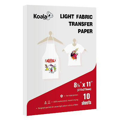 Koala Light Fabric Cotton 8.5x11 T-shirts Iron On Heat Transfer Paper 10 Sheets