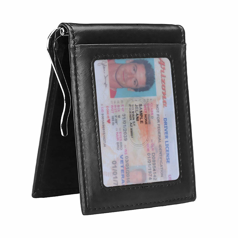 Mens Slim Leather Money Clip Wallet Bifold RFID Front Pocket
