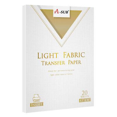 A-sub 20 Sheets 8.5x11 Iron On Inkjet Heat Transfer Paper Light Cotton Fabrics