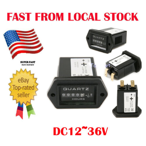 12-36V DC Quartz Hour Meter Hourmeter Gauge Tracking Time For Boat Car Engine