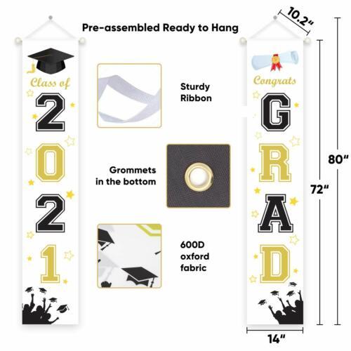 Large 2021 GRAD Banner for Graduation Party Decorations, Graduation Celebration