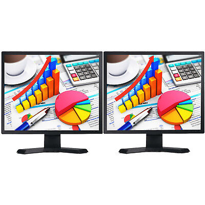 "2X 17"" LCD DUAL MONITOR MATCHING SCREEN COMPUTER PC  TFT VGA 17 INCH GRADE A"