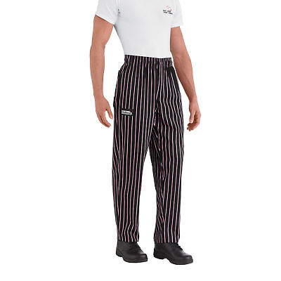 New Chefwear Mens 100 Cotton Baggy Chef Pants Black With Pink Stripes Xs-5xl