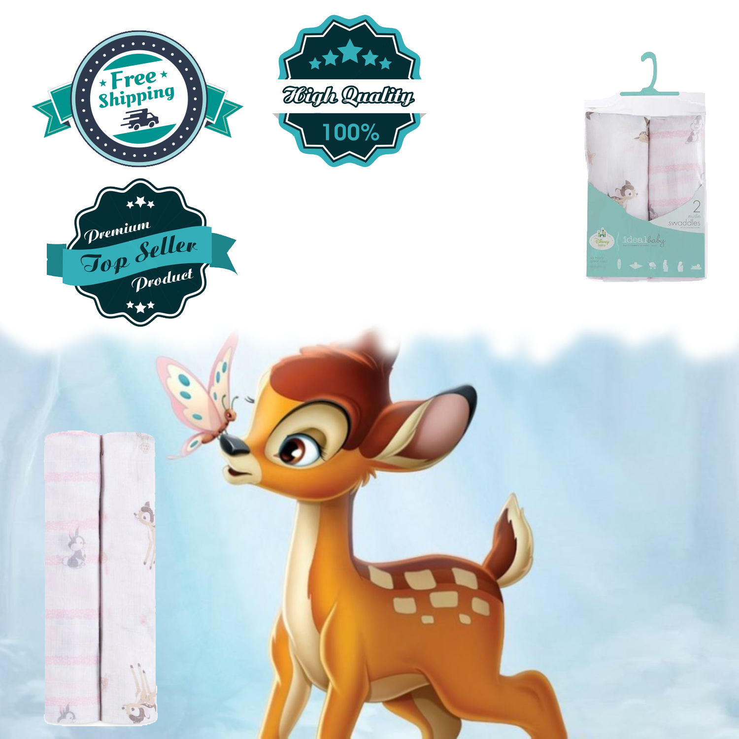 Ideal Baby by the Makers of Aden+Anais Swaddle Muslin Disney