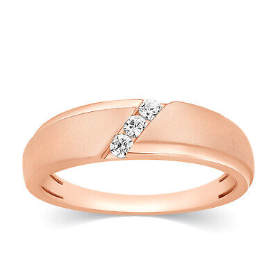 Mens 10k Rose Gold Natural Diamond Channel Set 3 Stone Wedding Band Ring 0.16 Ct