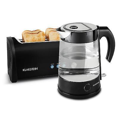 Frühstücks Set 4-Scheiben Toaster Wasserkocher Edelstahl Design Retro Schwarz
