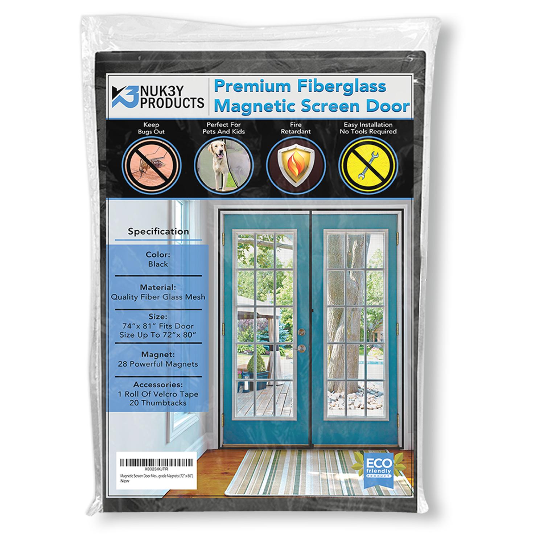 """Upgraded 72""""x80"""" Magnetic Screen Door for French Door, Durab"""