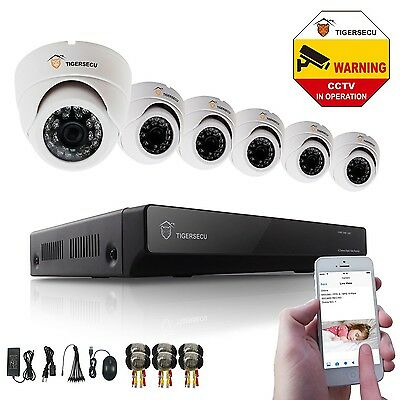 8CH DVR +6 Dome 800tvl Camera IR Night Vision Home Security System CCTV Network