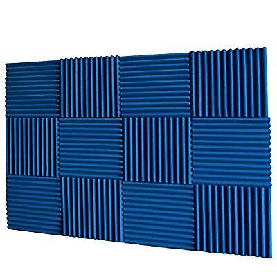 Acoustic Foam Wedges 12pc Panels Studio Recording Sound Blocking Wall Tiles Blue