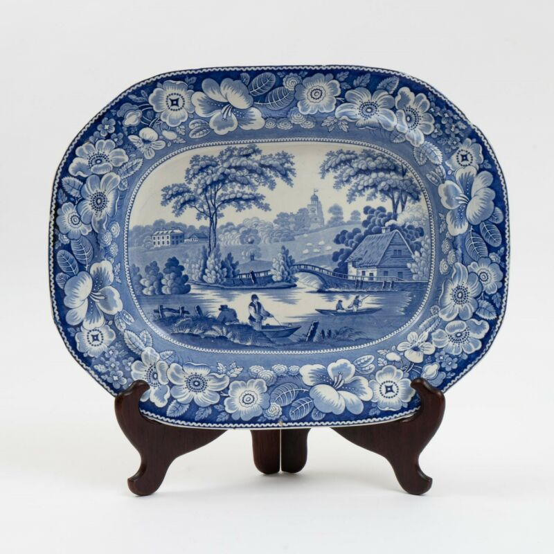 Antique Staffordshire Blue Transferware Platter