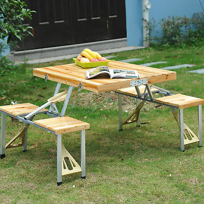 Wooden Picnic Table - Wooden Picnic Table Bench Seat Outdoor Portable Folding Camping Aluminum 4 seats