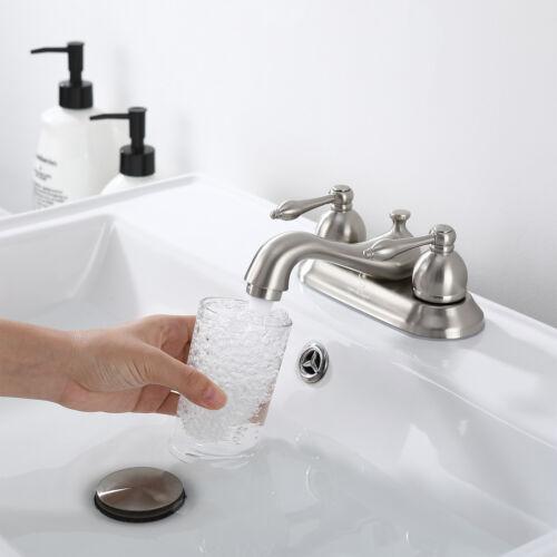 4'' Bathroom Vessel Sink Faucet 3 Holes 2 Handles Basin Mixer Tap W/Pop up Drain 11