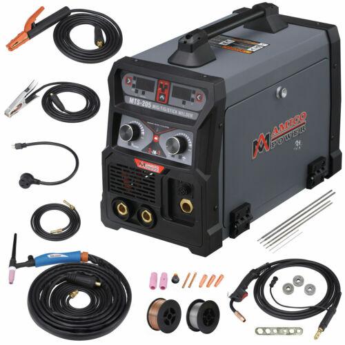 165, 185, 205 Amp MIG Wire Feed, Flux Cored Wire, TIG Torch Stick Arc DC Welder