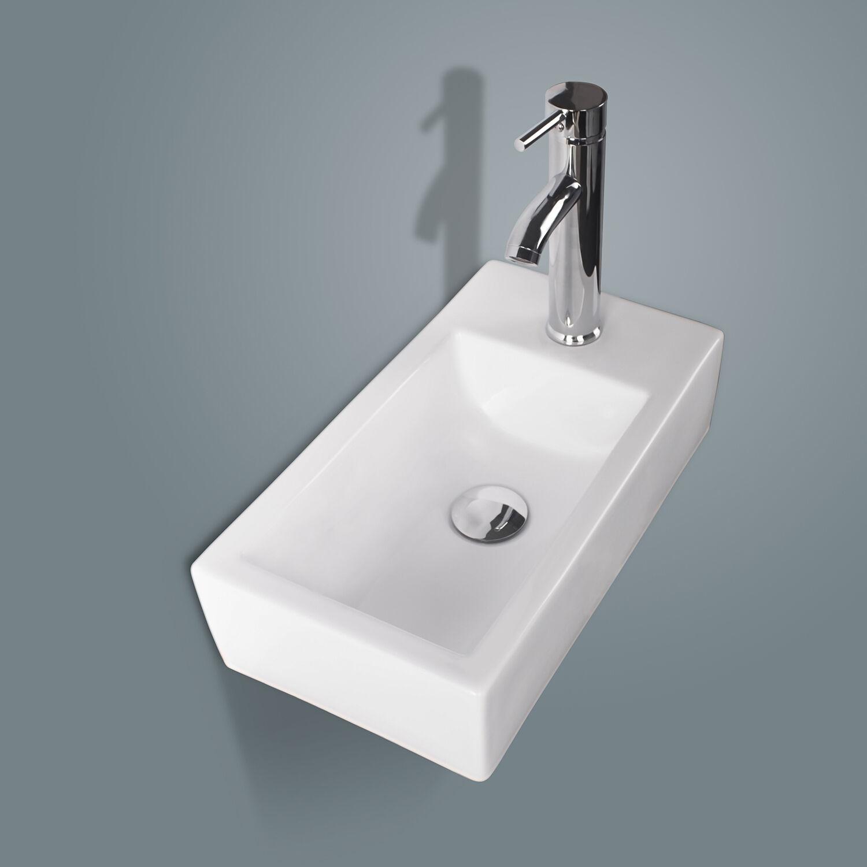 Right Corner Wall Mount Sink Rectangle Ceramic Vessel Sink