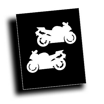 PAIR MOTORCYCLE DECAL for 954 CBR crotch rocket sport bike rider on trailer WHT