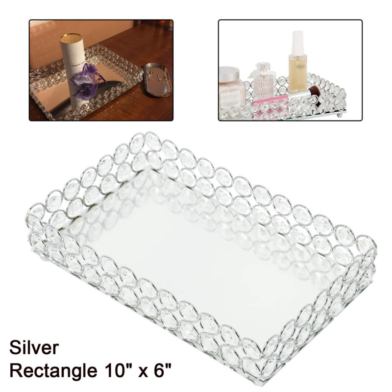 """10"""" x 6"""" Silver Mirrored Crystal Vanity Makeup Tray Cosmetic Perfume Bottle Tray"""