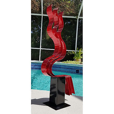 Statements2000 Large Abstract Metal Garden Sculpture Yard Decor Red Transitions