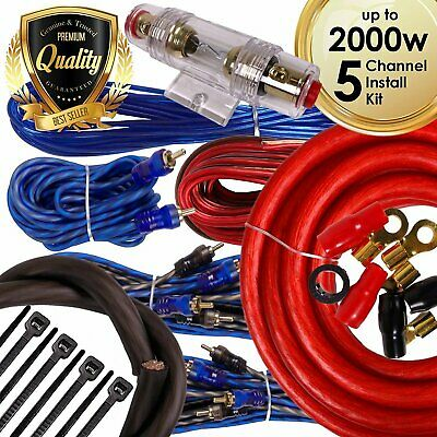 Complete 5 Channels 2000W 4 Gauge Amplifier Installation Wiring Kit Amp PK1 Red