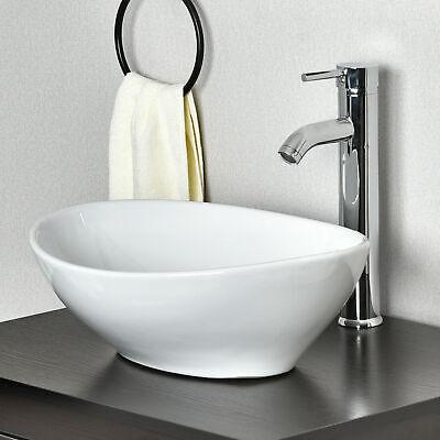 Ceramic Vessel Sink Combo Bathroom Basin Bowl w/ Faucet Pop-up Drain Oval White
