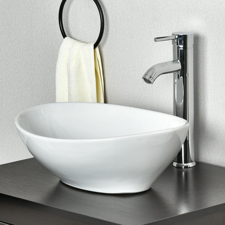 Ceramic Vessel Sink Combo Bathroom Basin Bowl w/ Faucet Pop-