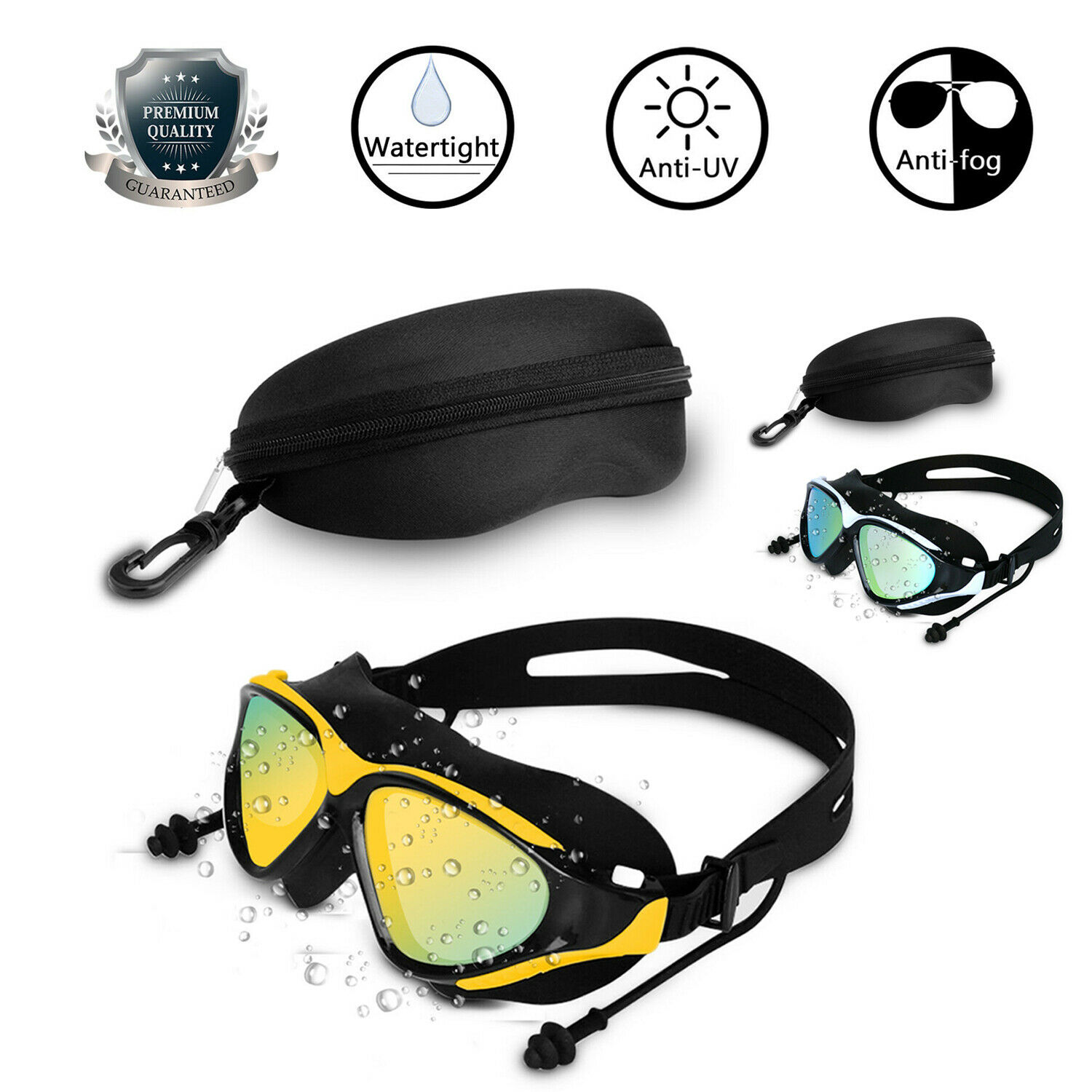 Mirror Swimming Goggles Anti-Fog  UV Protection Swim Glasses with Ear For Adult Goggles