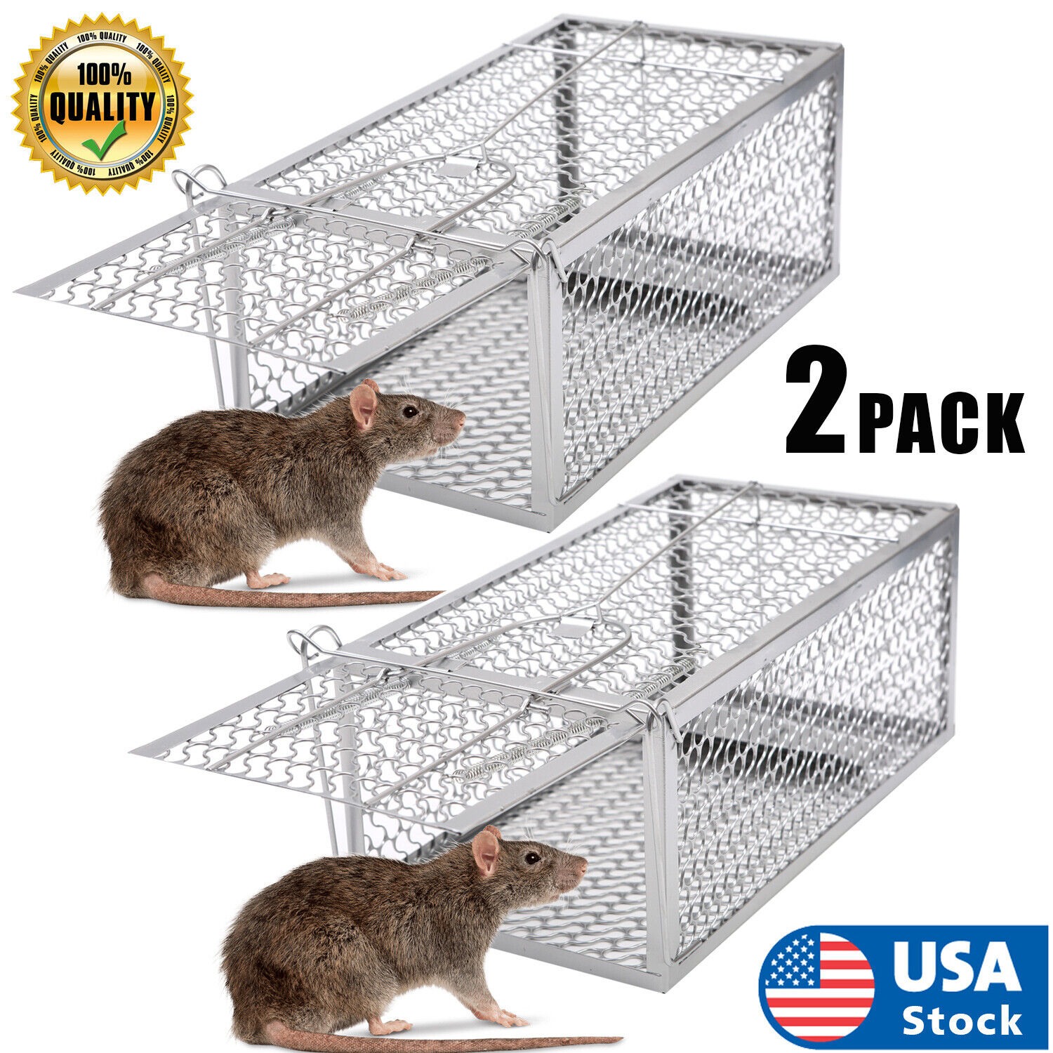2PACK Live Humane Cage Trap for Squirrel Chipmunk Rat Mice Rodent Animal Catcher Animal & Rodent Control