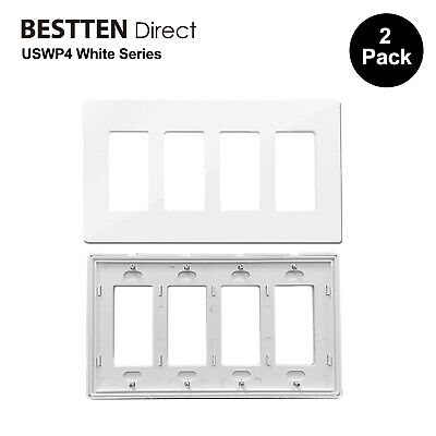 2PK BESTTEN 4 Gang Screwless Wall Plate Decor Outlet Cover USWP4 White Series UL