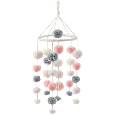 Mud Pie Pom Pom Crib Mobile - Pink and Grey