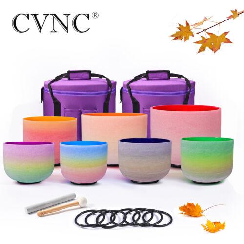 "432Hz 6""-12"" Set of 7 pcs Rainbow Chakra Quartz Crystal Singing Bowl with Case"