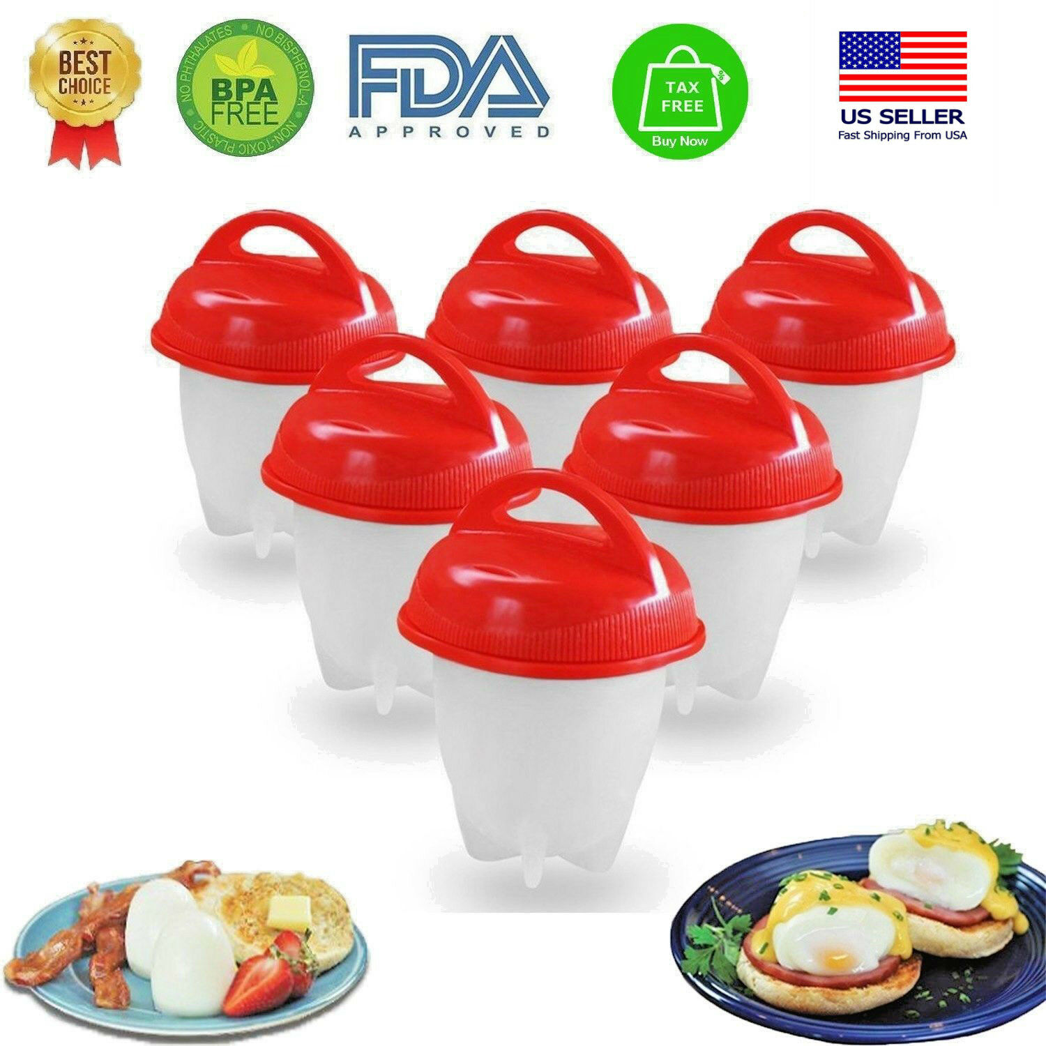 Egg Cooker Hard & Soft Boiled Eggs without Shell 1-12 pcs No