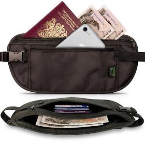 Black RFID Hidden Money Belt Travel Wallet for Passport Cards Money & Smartphone