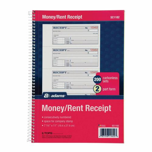 "Adams Money and Rent Receipt Book, 2-Part Carbonless, 7-5/8"" x 11"", Spiral Bound"
