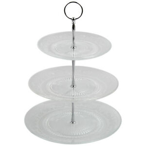 3 Tier Glass Cake Stand Afternoon Tea Wedding Plates Party Embossed Tableware