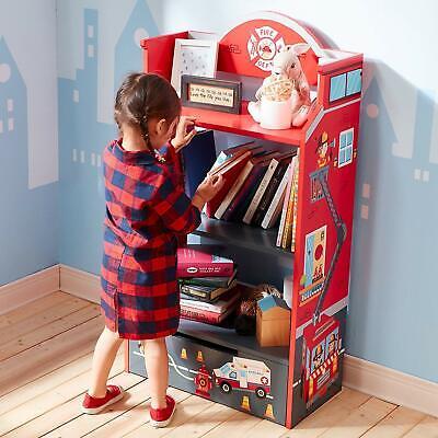 Kids Bookshelf Furniture Fireman Theme Firehouse Fire Truck Shelf Dresser Case  - Firefighter Bedroom Furniture