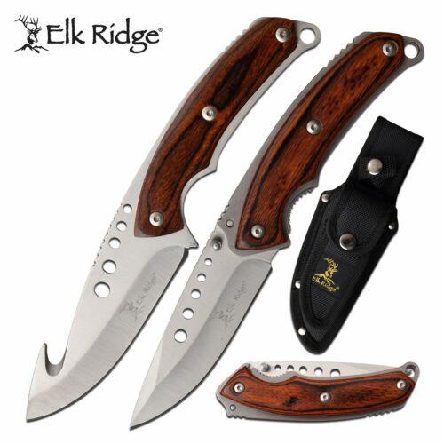 Elk Ridge ER-054BR 3 Piece SS Fixed Blade /Folding Knife Set w-Pakkawood Handles