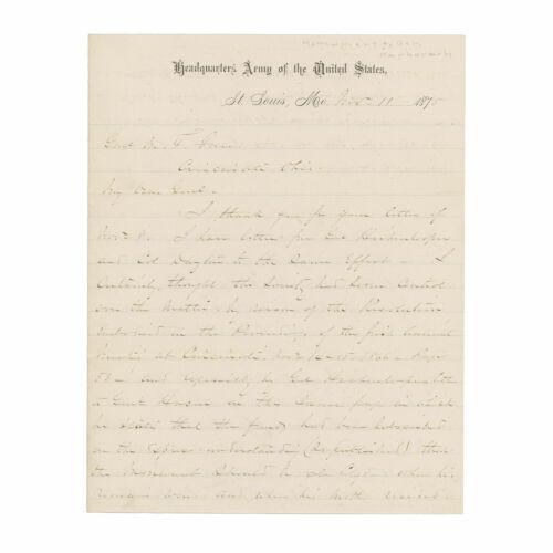 1875 Gen. William T. Sherman ALS Letter re: Monument to Gen. James B. McPherson